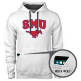 Contemporary Sofspun White Hoodie-SMU w/Mustang