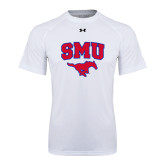 Under Armour White Tech Tee-SMU w/Mustang