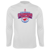 Performance White Longsleeve Shirt-2017 AAC Conference Champions - Mens Basketball Arched Banner