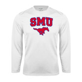 Performance White Longsleeve Shirt-SMU w/Mustang