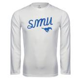 Syntrel Performance White Longsleeve Shirt-SMU Script