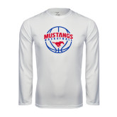 Performance White Longsleeve Shirt-Mustangs Basketball Arched w/ Ball