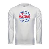 Syntrel Performance White Longsleeve Shirt-Mustangs Basketball Lined Ball