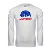Performance White Longsleeve Shirt-Mustangs Basketball Dallas Skyline