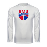 Syntrel Performance White Longsleeve Shirt-SMU Basketball Stacked on Ball