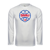 Syntrel Performance White Longsleeve Shirt-SMU Basketball Block Stacked in Circle