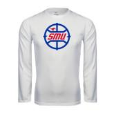 Performance White Longsleeve Shirt-SMU Basketball Block in Circle