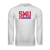 Performance White Longsleeve Shirt-SMU Basketball Stencil