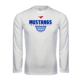 Performance White Longsleeve Shirt-Mustangs Basketball Net Icon
