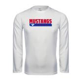 Performance White Longsleeve Shirt-Mustangs Basketball Stacked Bar
