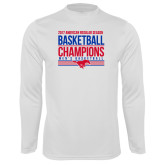 Performance White Longsleeve Shirt-2017 AAC Regular Season Mens Basketball Champions Stacked
