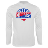 Syntrel Performance White Longsleeve Shirt-2017 AAC Regular Season Champs - Mens Basketball Half Ball