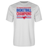 Performance White Tee-2017 AAC Regular Season Mens Basketball Champions Stacked