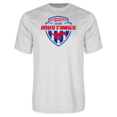 Performance White Tee-Mustangs in Shield