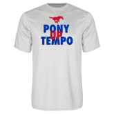 Performance White Tee-Pony Up Tempo Stacked