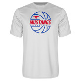 Performance White Tee-Mustangs Basketball Lined Ball