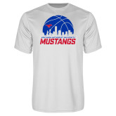 Performance White Tee-Mustangs Basketball Dallas Skyline