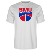 Syntrel Performance White Tee-SMU Basketball Stacked on Ball