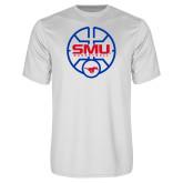 Performance White Tee-SMU Basketball Block Stacked in Circle