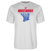 Performance White Tee-Mustangs Basketball Stacked w/ Net