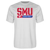 Syntrel Performance White Tee-SMU Basketball Stencil