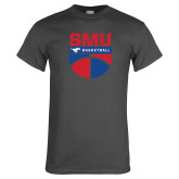 Charcoal T Shirt-SMU Basketball Stacked on Ball