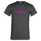 Charcoal T Shirt-SMU Basketball Block Stacked in Circle
