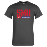 Charcoal T Shirt-SMU Basketball Stencil