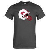 Charcoal T Shirt-SMU Football Helmet