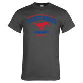 Charcoal T Shirt-Arched Mustangs w/ Banner