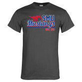 Charcoal T Shirt-Stacked SMU Mustangs Design