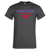 Charcoal T Shirt-Stacked Athletic Mustangs Design