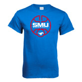 Royal T Shirt-SMU Basketball Block Stacked in Circle