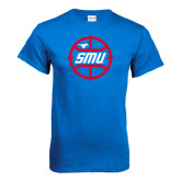 Royal T Shirt-SMU Basketball Block in Circle