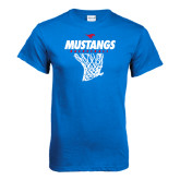 Royal T Shirt-Mustangs Basketball Stacked w/ Net