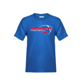 Youth Royal T Shirt-Football Outline Design
