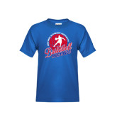 Youth Royal T Shirt-Player on Basketball Design
