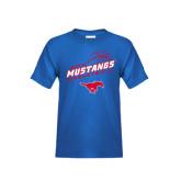 Youth Royal T Shirt-Angled Basketball Design