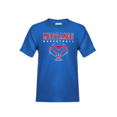 Youth Royal T Shirt-Stacked Basketball Design