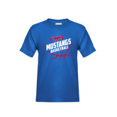 Youth Royal T Shirt-Angled Mustangs in Basketball