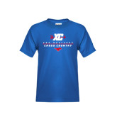 Youth Royal T Shirt-Stacked Cross Country Design