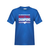Youth Royal T Shirt-2017 AAC Regular Season Mens Basketball Champions Stacked