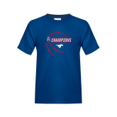 Youth Royal T Shirt-2017 AAC Conference Champions - Mens Basketball Contour Lines