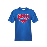 Youth Royal T Shirt-SMU w/Mustang