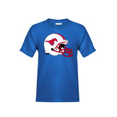 Youth Royal T Shirt-SMU Football Helmet