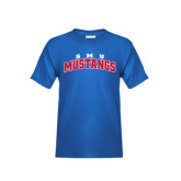 Youth Royal T Shirt-Arched SMU Mustangs