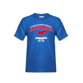 Youth Royal T Shirt-Arched Mustangs w/ Banner