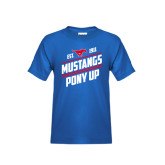 Youth Royal T Shirt-Mustangs Pony Up