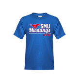 Youth Royal T Shirt-Stacked SMU Mustangs Design