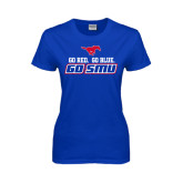 Ladies Royal T Shirt-Go Red Go Blue Go SMU